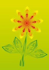 Gold fire flower on isolated background.. Illustration.
