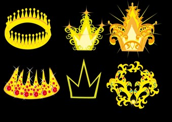 Set of crowns from gold. Vector illustration.