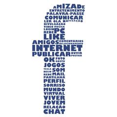Letra f com palavras associadas às redes sociais