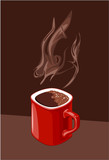 red cup of coffee with aroma of ascending