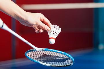 Badminton in einer Turnhalle - Hand mit Ball