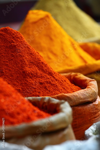 Traditional spices market in India. - 38594671