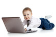 cute child using a laptop