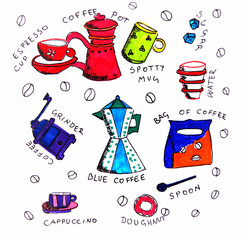 Illustration coffee elements