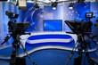 Leinwanddruck Bild - TV studio with camera and lights