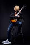 Man - guitar player cosplay anime character poster