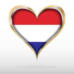 Vector illustration of Dutch flag in golden heart