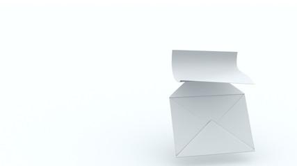 Sheet of paper flying from envelope