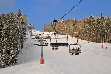 Ski lift on a mounting skiing resort