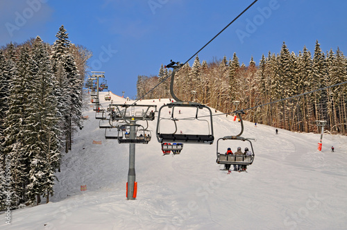 Ski lift on a mounting skiing resort