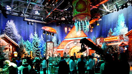 people in studio is preparing to shoot Christmas TV shows