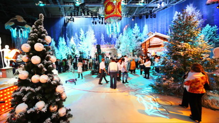 television studio is preparing to shoot Christmas TV shows
