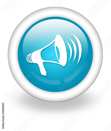"Light Blue Icon ""Megaphone / Announcement Symbol"""