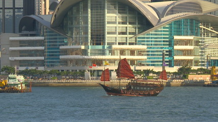 galleon passing Hong Kong Convention and Exhibition Centre