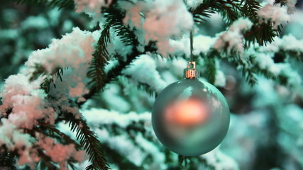 glass ball silver color hangs on snow covered fir