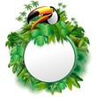 Tucano Sfondo Giungla-Toucan on Jungle Label Background-Vector