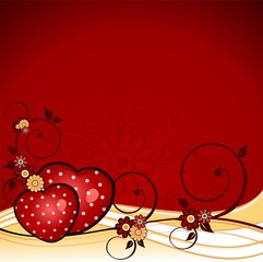 Hearts flowers red background