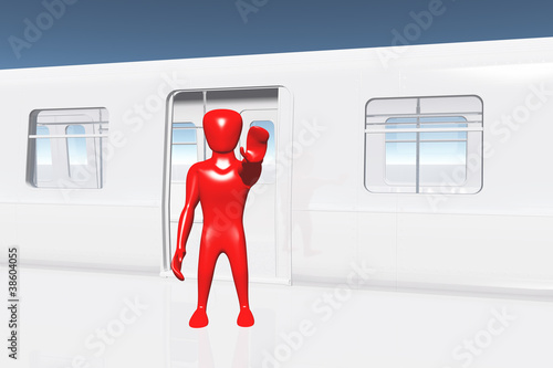 Human Figure Showing Stop Getting On Train Business Concept