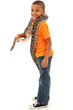 Adorable Young Black Boy Holding pet Boa Constrictor