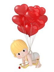 3D render of cupid attached to balloons