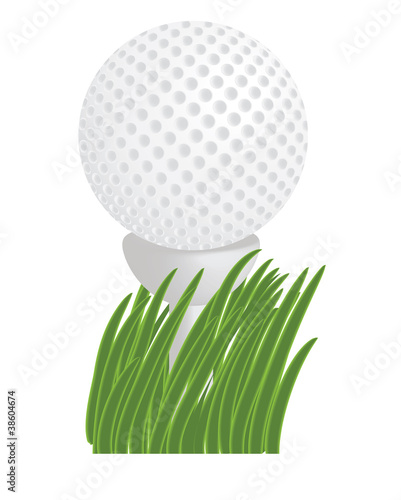 golf ball on a tee in grass vector illustration