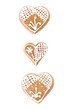 Gingerbread hearts isolated on white background