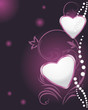 Shining hearts with diamonds on the decorative background