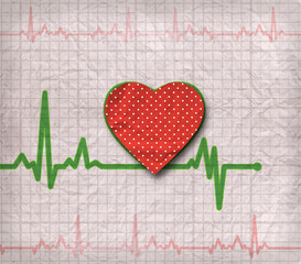 Heart cardiogram on paper, with heart on it