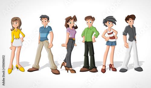 Group cartoon people. Teenagers.