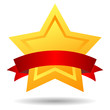 Gold star award icon, vector illustration