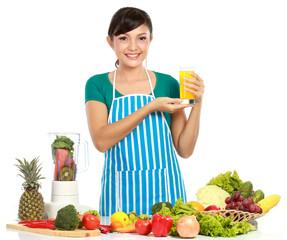 woman having a fresh juice