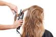 hairdresser straightening hair