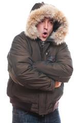 frozen man in jacket