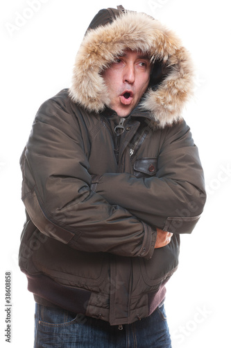 frozen man in jacket