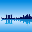 Detailed vector Singapore silhouette skyline