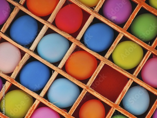 Colorful balloons  in a box