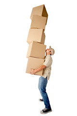 Deliveryman carrying boxes