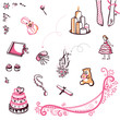 Wedding theme - a set of decorative illustrations on