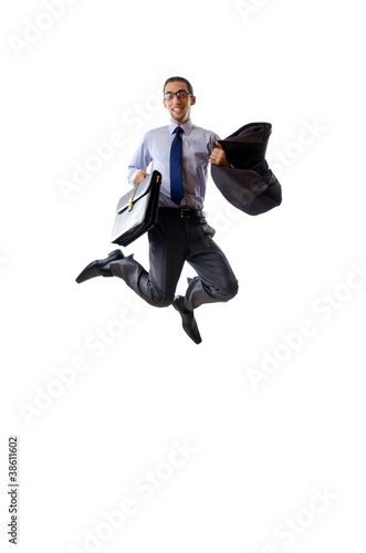 Jumping businessman isolated on white