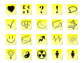 Post-it notes with icons