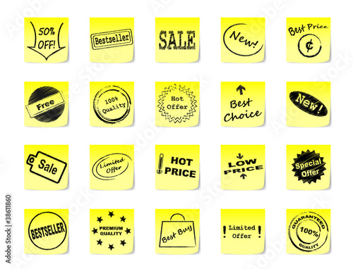 Post-it notes with icons for goods and products