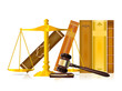 justice gavel, golden balance and books