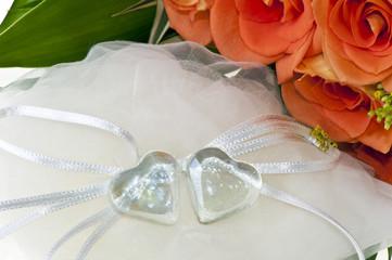 crystal heart and orange rose
