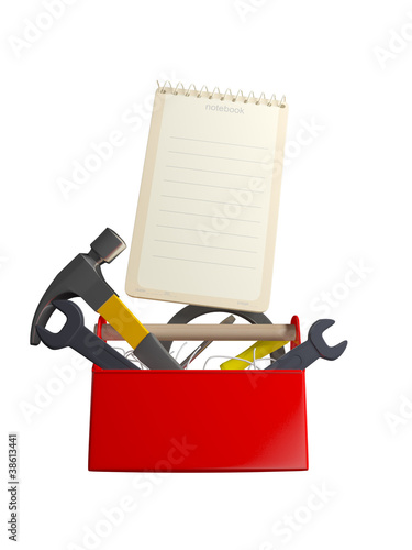 set of tools and instruments in plastic box isolated on white ba