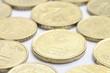 Euros cent coins with focus on twenty cent