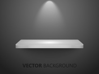 3D white shelf on black wall, useable for exhibits -vector