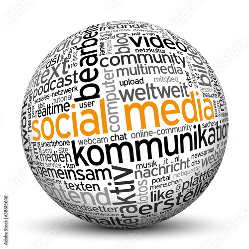 Social Media, Kugel, 3D, Web 3.0, Text, Bild, Audio, Video, P2P