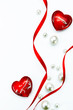 Art Design Valentine Day greeting card with red ribbon and love