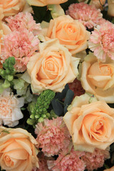 soft pink and white rose floral arrangement