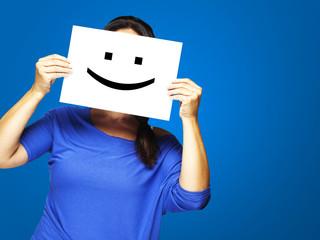 woman with happy emoticon